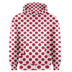 Polka Dot Red White Men s Zipper Hoodie by Mariart