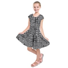 Plaid Black White Kids  Short Sleeve Dress by Mariart