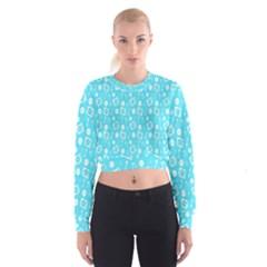 Record Blue Dj Music Note Club Women s Cropped Sweatshirt by Mariart