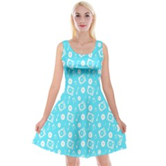 Record Blue Dj Music Note Club Reversible Velvet Sleeveless Dress by Mariart