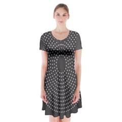 Round Stitch Scrapbook Circle Stitching Template Polka Dot Short Sleeve V Neck Flare Dress by Mariart