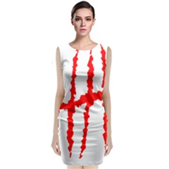 Scratches Claw Red White H Classic Sleeveless Midi Dress by Mariart