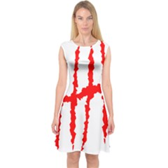 Scratches Claw Red White H Capsleeve Midi Dress by Mariart