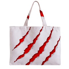 Scratches Claw Red White Medium Zipper Tote Bag