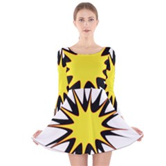 Spot Star Yellow Black White Long Sleeve Velvet Skater Dress by Mariart