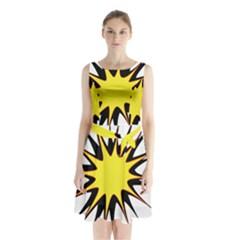 Spot Star Yellow Black White Sleeveless Chiffon Waist Tie Dress by Mariart