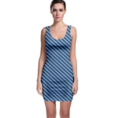 Striped  Line Blue Sleeveless Bodycon Dress by Mariart