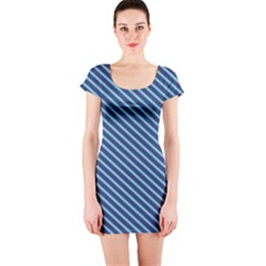 Striped  Line Blue Short Sleeve Bodycon Dress by Mariart