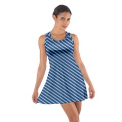 Striped  Line Blue Cotton Racerback Dress by Mariart