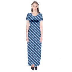 Striped  Line Blue Short Sleeve Maxi Dress by Mariart