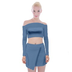 Striped  Line Blue Off Shoulder Top With Skirt Set by Mariart