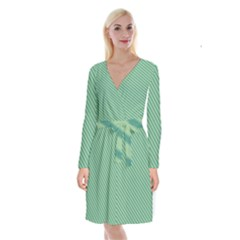 Striped Green Long Sleeve Velvet Front Wrap Dress by Mariart