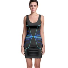 Sine Squared Line Blue Black Light Sleeveless Bodycon Dress by Mariart