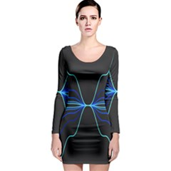 Sine Squared Line Blue Black Light Long Sleeve Bodycon Dress by Mariart
