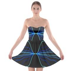 Sine Squared Line Blue Black Light Strapless Bra Top Dress by Mariart
