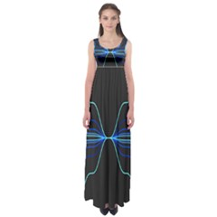 Sine Squared Line Blue Black Light Empire Waist Maxi Dress by Mariart