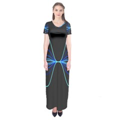 Sine Squared Line Blue Black Light Short Sleeve Maxi Dress by Mariart
