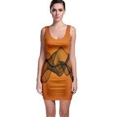 Transparent Waves Wave Orange Sleeveless Bodycon Dress by Mariart