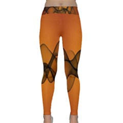 Transparent Waves Wave Orange Classic Yoga Leggings by Mariart