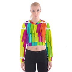 Trans Gender Purple Green Blue Yellow Red Orange Color Rainbow Sign Women s Cropped Sweatshirt by Mariart