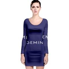 Zodiac Gemini Long Sleeve Bodycon Dress by Mariart