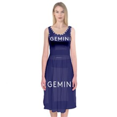 Zodiac Gemini Midi Sleeveless Dress by Mariart