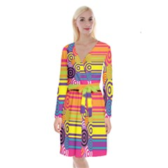 Retro Circles And Stripes Colorful 60s And 70s Style Circles And Stripes Background Long Sleeve Velvet Front Wrap Dress by Simbadda