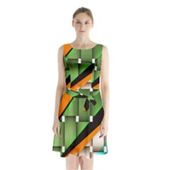 Abstract Wallpapers Sleeveless Chiffon Waist Tie Dress by Simbadda
