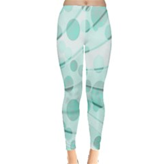 Abstract Background Teal Bubbles Abstract Background Of Waves Curves And Bubbles In Teal Green Leggings  by Simbadda