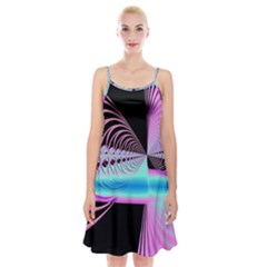 Blue And Pink Swirls And Circles Fractal Spaghetti Strap Velvet Dress