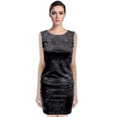 Damask2 Black Marble & Black Watercolor (r) Classic Sleeveless Midi Dress by trendistuff