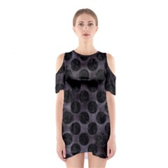 Circles2 Black Marble & Black Watercolor (r) Shoulder Cutout One Piece by trendistuff