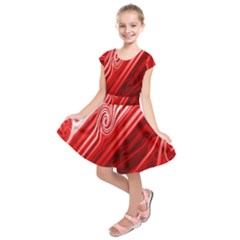 Red Abstract Swirling Pattern Background Wallpaper Kids  Short Sleeve Dress by Simbadda
