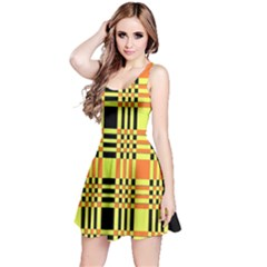 Yellow Orange And Black Background Plaid Like Background Of Halloween Colors Orange Yellow And Black Reversible Sleeveless Dress by Simbadda