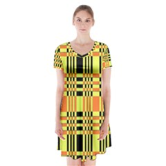 Yellow Orange And Black Background Plaid Like Background Of Halloween Colors Orange Yellow And Black Short Sleeve V Neck Flare Dress by Simbadda