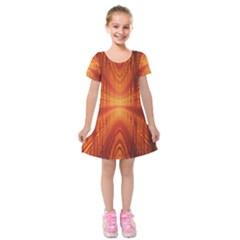 Abstract Wallpaper With Glowing Light Kids  Short Sleeve Velvet Dress