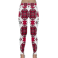 Seamless Abstract Pattern With Red Elements Background Classic Yoga Leggings by Simbadda