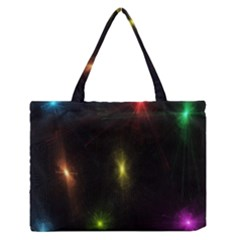 Star Lights Abstract Colourful Star Light Background Medium Zipper Tote Bag