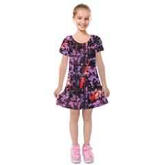 Abstract Painting Digital Graphic Art Kids  Short Sleeve Velvet Dress by Simbadda