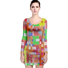 Abstract Polka Dot Pattern Digitally Created Abstract Background Pattern With An Urban Feel Long Sleeve Bodycon Dress by Simbadda