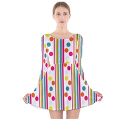 Stripes And Polka Dots Colorful Pattern Wallpaper Background Long Sleeve Velvet Skater Dress by Nexatart