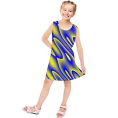 Blue Yellow Wave Abstract Background Kids  Tunic Dress