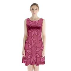 Fusia Abstract Background Element Diamonds Sleeveless Chiffon Waist Tie Dress