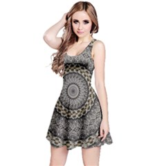 Celestial Pinwheel Of Pattern Texture And Abstract Shapes N Brown Reversible Sleeveless Dress by Nexatart