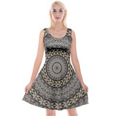 Celestial Pinwheel Of Pattern Texture And Abstract Shapes N Brown Reversible Velvet Sleeveless Dress by Nexatart