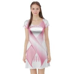 Breast Cancer Ribbon Pink Girl Women Short Sleeve Skater Dress