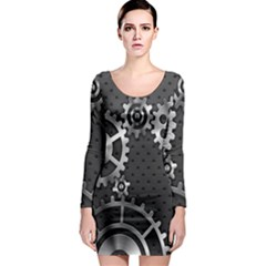 Chain Iron Polka Dot Black Silver Long Sleeve Bodycon Dress by Mariart