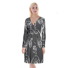 Chain Iron Polka Dot Black Silver Long Sleeve Velvet Front Wrap Dress by Mariart