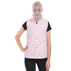 Flower Floral Sunflower Pink Yellow Women s Button Up Puffer Vest by Mariart