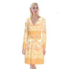 Dragonfly Leaf Orange Long Sleeve Velvet Front Wrap Dress by Mariart